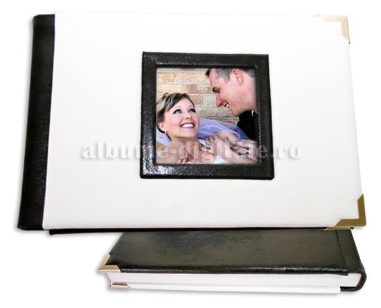 album nunta de piele alb si negru-antiq